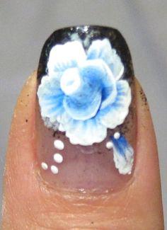 One Stroke Rose Nail Design