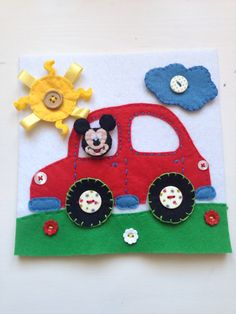 Felt Mickey Mouse Button up Quiet Book Page - all parts are detachable - will turn into a book soon