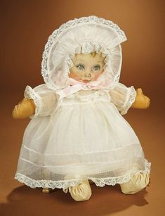 """Bread and Roses - Auction - July 26, 2016: 412 American Cloth Doll """"Sweets"""" Designed by Maud Tousey Fangel for Georgene Novelties"""
