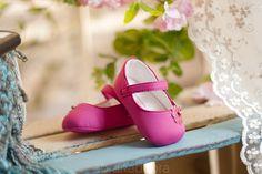 Buciki ciemno-różowe balerinki z kwiatkami 9501