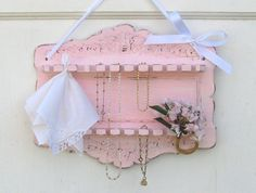 Hankie Display Shelf Shabby Chic Pink Distressed