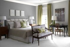 Master bedroom wall colors from BHG. One dark wall and three lighter ones.