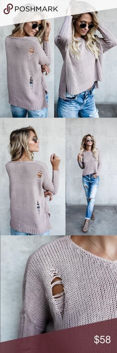 Mauve Loosen Up Distressed Sweater Sadie and Sage mauve loosen up distressed sweater is adorable with ribbed sleeves and a tattered knit body. This V neck sweater would look adorable with skinnies and boots for fall.                                                        Material Content: 100% acrylic.                                       •size small: 21in from shoulder to hem• Sadie & Sage Sweaters V-Necks