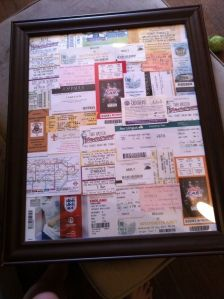 Ticket Stub Picture Frame!  I need to do this with all of my movie tickets.
