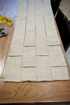 Woven Burlap Table Runner 6, I can imagine adding some lace to it.