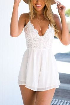 White Scallop V Neck Lace Elastic Waist Playsuit