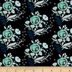 Designed by Aneela Hoey for Cloud 9 Fabrics, this certified 100% organic cotton print fabric meets the GOTS certification. This GOTS certified organic cotton floral print fabric is perfect for quilting, apparel and home décor accents. Colors include teal blue, white and green flowers on a navy background.