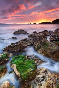 Dawn breaks on the Antrim coast, Northern Ireland. Southern Ireland, Landscape Wallpaper, Emerald Isle, Homeland, Places To Go, Sunrise, Coast, Water, Photography