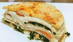 Vega: Tortillataart met spinazie, mascarpone, tomaat, mozzarella, pijnboompitten…