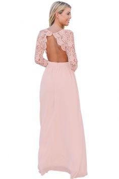 Pink Open Back Long Sleeve Crochet Maxi Party Dress fd2744c2d242