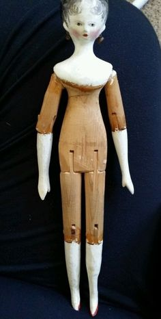 "9 5"" Antique Peg Wooden Doll c1840 Tuck Comb Original Earrings Amazing Doll 