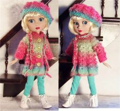 """SWEATER,LEGGINGS,HAT&BOOT SET MADE FOR WILDE/TONNER PATIENCE&SIMILAR SIZE14""""DOLL"""