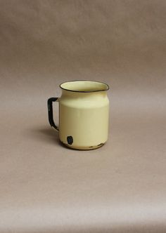 Vintage Yellow Enamelware Pitcher- Rustic Home Decor