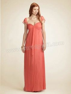 Cap Sleeves Sweetheart Draping Coral Evening Dress