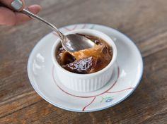 A sweet and savory dessert with a caramel edge and surprise bite of jam.