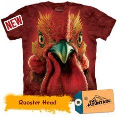 T-Shirts The Mountain Big Cock Head Rooster Chicken Cockerel Barn Farm T Tee Shirt 3d T Shirts, Cool T Shirts, Printed Shirts, Custom Shirts, Big Rooster, Big Face, Tye Dye, Cotton Tee, Screen Printing