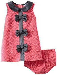 Hartstrings Baby-Girls Infant Zig Zag Knit Jacquard Dress and Diaper Cover Set
