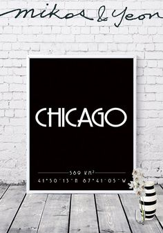 Chicago prints City coordinates Chicago coordinates Typo Typo, Letter Board, Chicago, Lettering, City, Handmade Gifts, Prints, Kid Craft Gifts, Craft Gifts