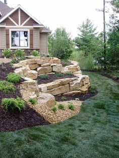 Large boulders used as a retaining wall! Amazing craftsmanship by Land Art Inc. - Large boulders used as a retaining wall! Amazing craftsmanship by Land Art Inc. Large Backyard Landscaping, Landscaping Retaining Walls, Landscaping With Rocks, Landscaping Ideas, Backyard Ideas, Acreage Landscaping, Landscaping Company, Patio Ideas, Steep Backyard