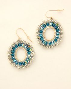 crystal beaded jewelry / Crystal hoop earrings / Beaded by Ranitit