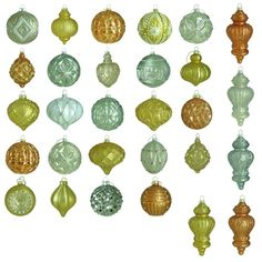Martha Stewart Living Holiday Shimmer Glass Ornament Set (50-Count)-HEGL25HS - The Home Depot