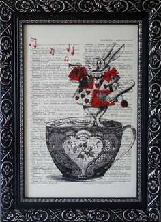 Art Alice in wonderland print nursery print on an vintage french dictionary page, dictionary Alice in wonderland Mixed media print (360). $8.95, via Etsy.