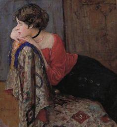 Vahraméev, Aleksándr I (b,1874)- Woman Resting Head on Hands