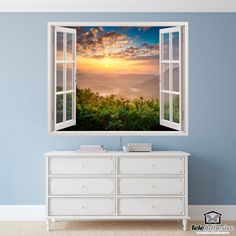 Wall mural Mountain, valley and lake. Spectacular image of a valley with its large mountains and lake. Sunset Landscape, Landscape Walls, Wall Stickers Mountains, Window Wall, Awesome Bedrooms, Mural Art, Sticker Shop, Backdrops, Windows
