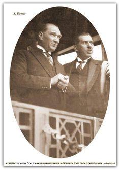 Atatürk ve Kazım Özalp, Ankara'dan İstanbul'a giderken. 05.06.1928