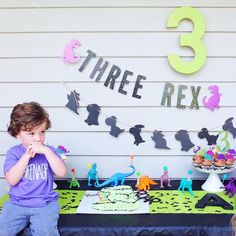 THREE-REX Birthday Party - 3rd birthday party ideas - threenager - dinosaur party