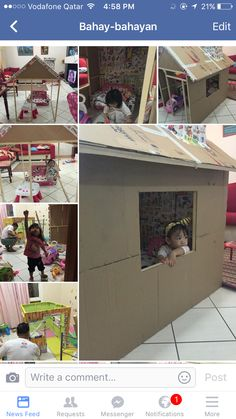 toddler playhouse made of boxes #recycling #carton #toddlerhouse