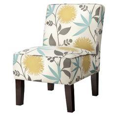 """Burke Armless Slipper Chair - Aegean Blue/Yellow Floral Chair Dimensions: 34.0 """" H x 22.0 """" W x 31.0 """" D"""
