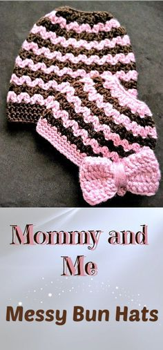Free crochet pattern for the Mommy and Me Messy Bun/Ponytail Beanie, designed by Repeat Crafter Me.