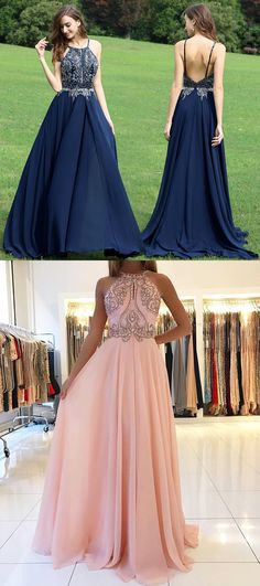 Sexy Open Back Formal Gown Navy Blue,Halter Prom Dress Chiffon With Beaded Bodice
