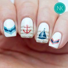 White Manicure, nail art, nail design, Sailor, Nautical, tutorial