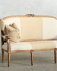 Vintage Louis XVI French Style Gilt Settee Upholstered Stripe