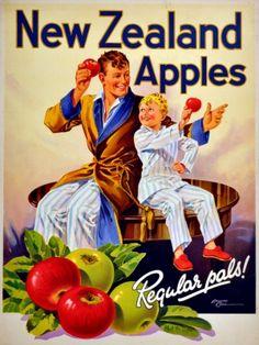 Poster advertising New Zealand apples, Edward Cole Vintage Advertisements, Vintage Ads, Retro Ads, Ski Posters, Movie Posters, Food Posters, Vintage Food Labels, Nz Art, Retro Poster