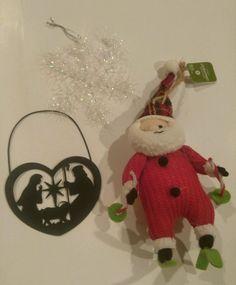 New Christmas Ornament Lot of 3 Snowflake Santa Jesus Decoration xmas Tree Ball  #BalsamBarry