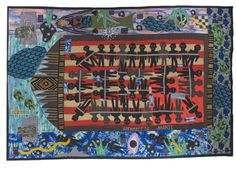 'Slave Ship Henrietta Marie,' made by Michael Cummings, made in New York, 2007, hand and machine stitched, painted and embellished, 120 x 156""