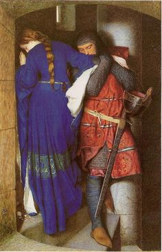 Hellelil and Hildebrand, the meeting on the stairs of the turret. Frederic William Burton, Courtesy of the National Gallery of Ireland. Hellelil and Hildebrand, the meeting on the stairs of the turret. Caricatures, Dublin, Famous Artists Paintings, Art Paintings, Famous Portraits, Good Knight, Frederick William, National Gallery, John Everett Millais