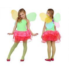 Vlinder kinder kostuum groen met rood. Vlinder kostuum voor meisjes in de kleuren groen met rood, inclusief jurkje en vleugels. In verschillende maten verkrijgbaar. Carnavalskleding 2015 #carnaval