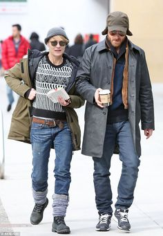 Coordinated: Robin and fiance Ben Foster wore similar outfits as they enjoy a relaxing Sunday brunch in downtown Vancouver, Canada
