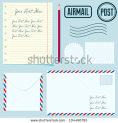 Vector post set with envelopes, stamp, paper, postmarks, pencil - stock vector