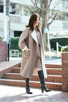 Black Thigh Boots, Knee Boots, Leder Outfits, Girls Heels, Cold Weather Fashion, Daily Look, Fashion Pictures, Her Style, Asian Woman