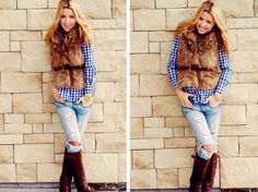 fur.flannel.rippedjeans.boots.