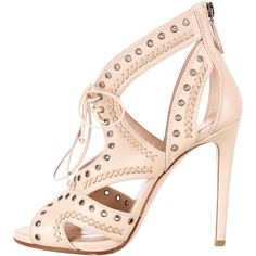 Pre-owned Miu Miu Grommet-Embellished Sandals (2.630.550 IDR) ❤ liked on Polyvore featuring shoes, sandals, neutrals, beige sandals, leather shoes, beige leather sandals, zipper shoes and leather lace up sandals