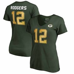 Aaron Rodgers Green Bay Packers NFL Pro Line by Fanatics Branded Women's Authentic Foil Stack Name & Number V-Neck T-Shirt - Green