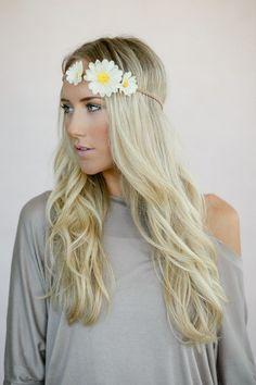Tie On Daisy Flower Crown, Boho Music Festival Headband Hair Accessories, Fashion Headbands with Flowers, Daisy Crown (HB-3758)