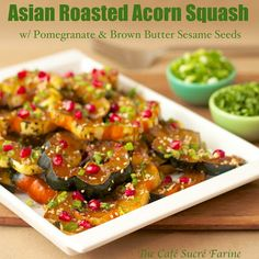 Tired of the same-old-same-old on your holiday tables? Dazzle your guests with this beautiful side! Asian Roasted Acorn Squash w/ Pomegranate & Brown Butter Sesame Seeds