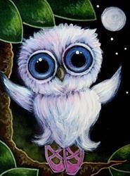 Art: TINY TORNASOL OWL WITH SLIPPERS - BALLERINA by Artist Cyra R. Cancel